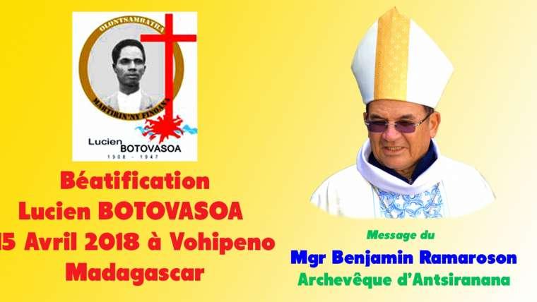 Message du Mgr Benjamin Ramaroson – Béatification de Lucien Botovasoa